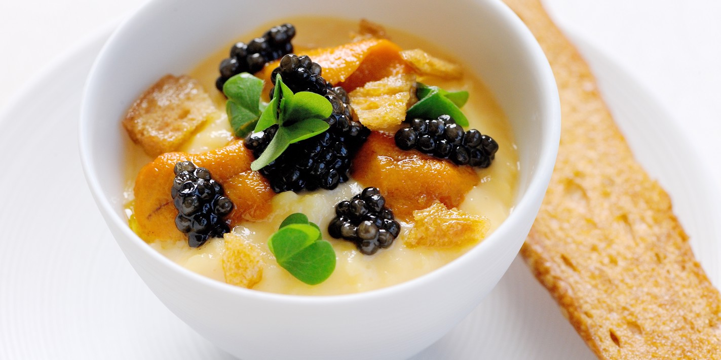 Sea urchin with scrambled eggs and ossetra caviar