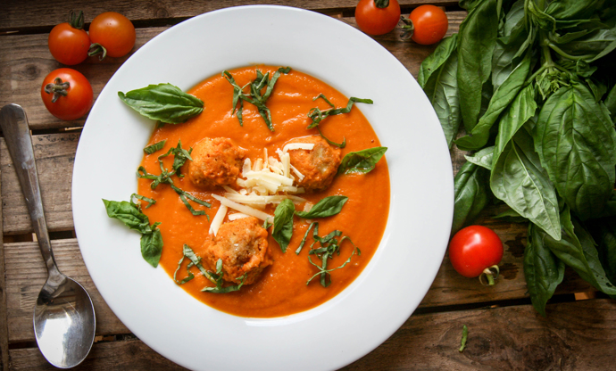Roasted tomato soup with cheddar dumplings