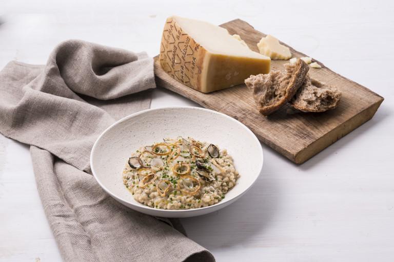 Grana Padano and pickled onion barley risotto