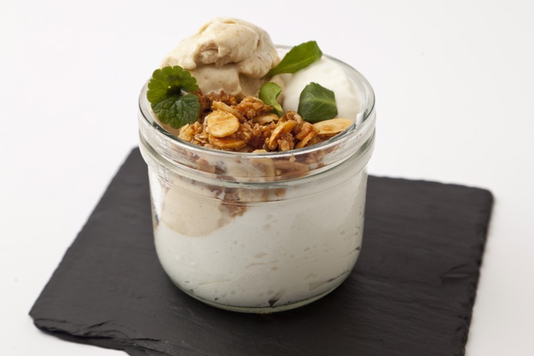 Fig ice cream with granola and yoghurt mousse