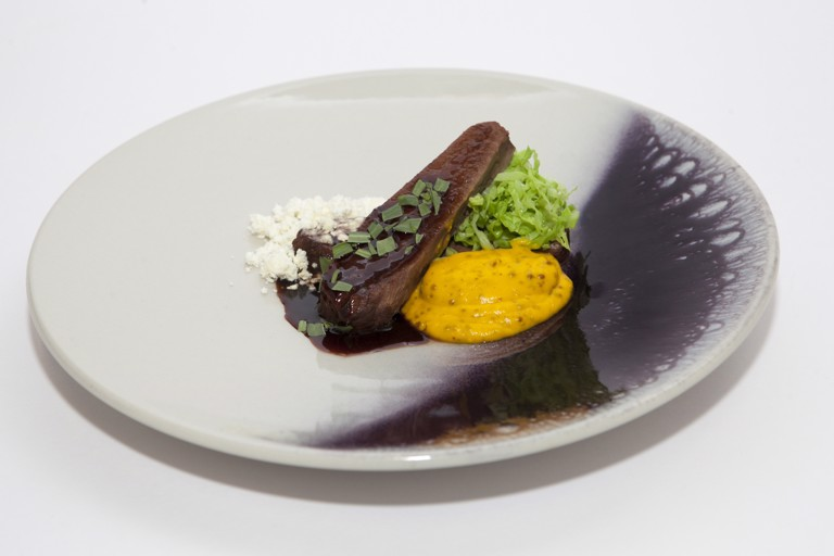Jacob's ladder of beef with chablis mustard and carrot purée