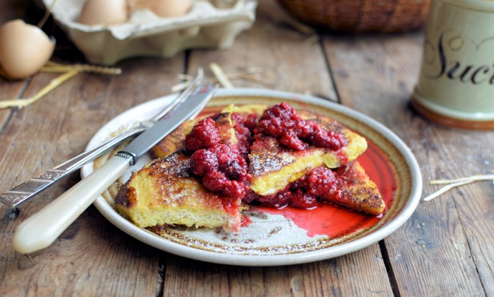 French Toast and Vanilla Raspberry Compote