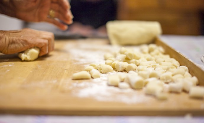 Gnocchi being made