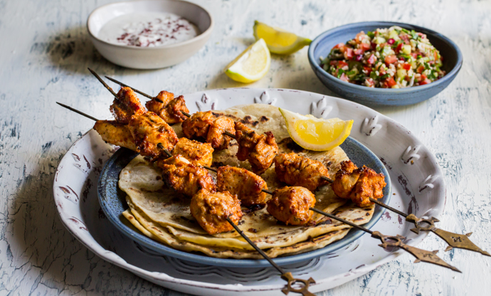 Tahini-marinated chicken with tabbouleh and flatbreads