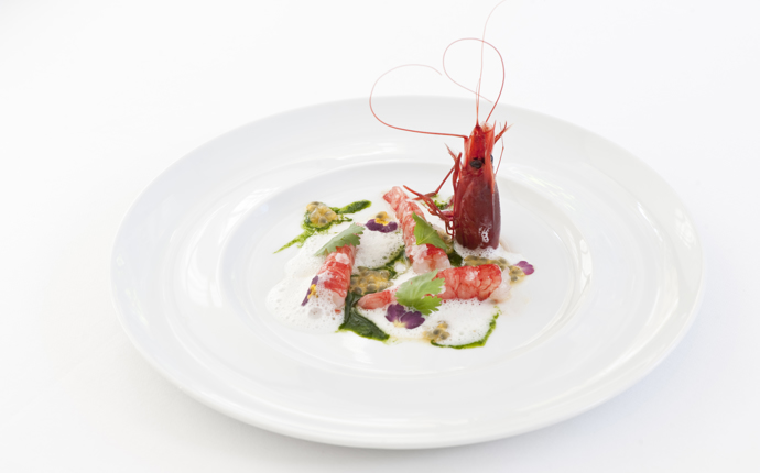 Red prawns, coconut, passion fruit and coriander