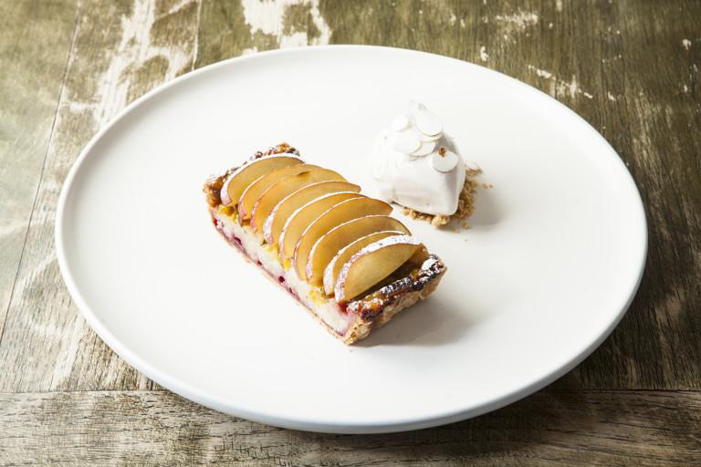 Plum and hazelnut tart with meadowsweet ice cream