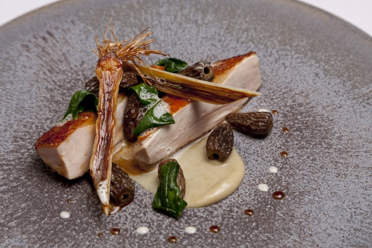 Guinea fowl with liquorice braised leeks, morels and rosemary