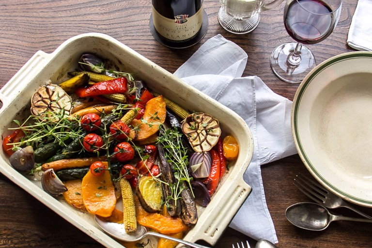 Mixed roasted vegetables with blue cheese sauce