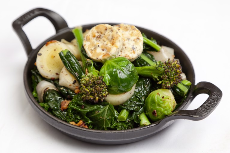 Winter greens with walnut butter