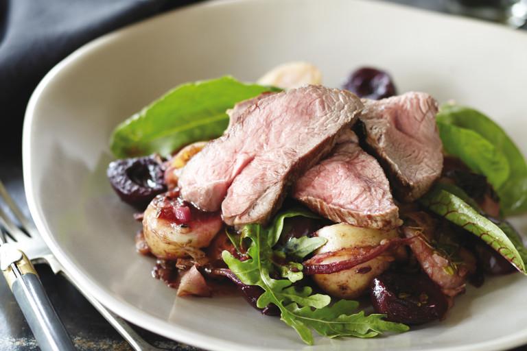 Lamb rump with cherry and potato salad