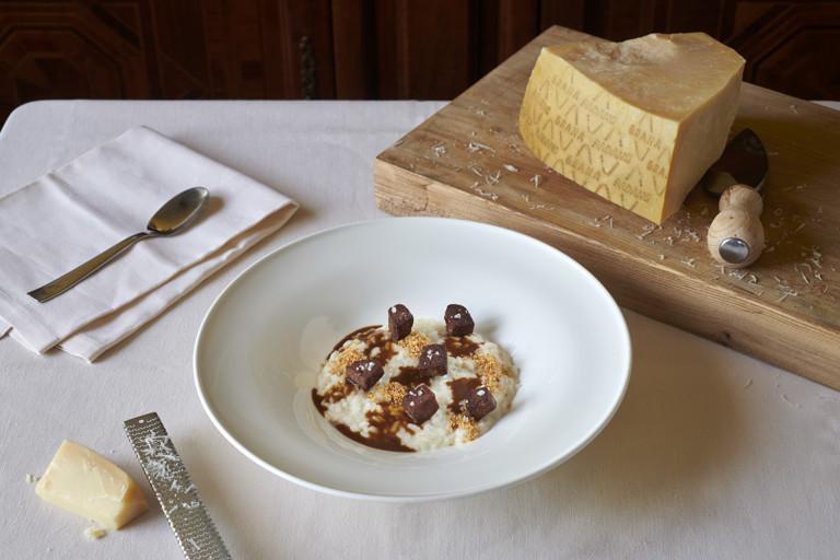 Piedmontese Carnaroli risotto with veal tongue, hazelnuts and Grana Padano