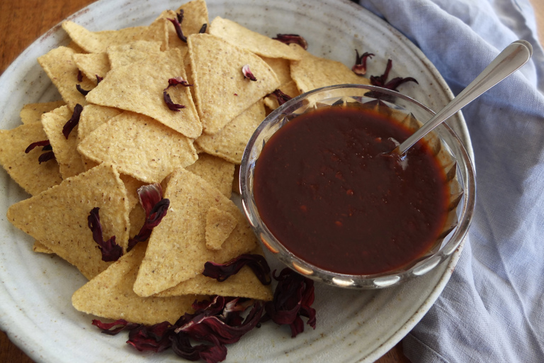 Chipotle and hibiscus hot sauce