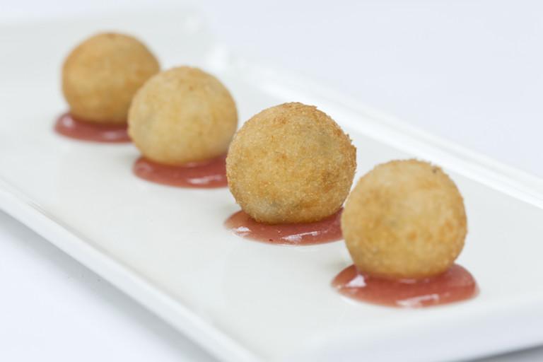Stilton beignets with grape jelly