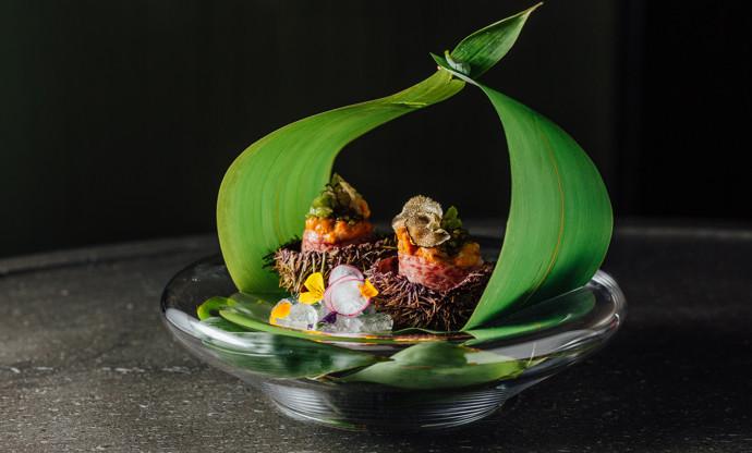 Wagyu uni caviar termari – Wagyu sashimi, sea urchin, caviar