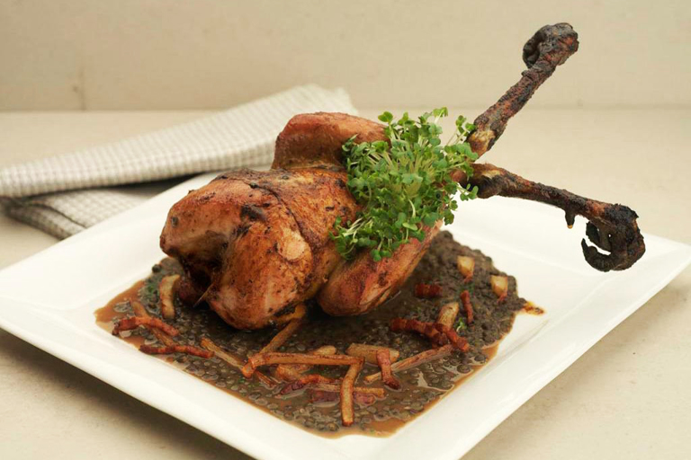 Roast pheasant hens with Puy lentils and salsify