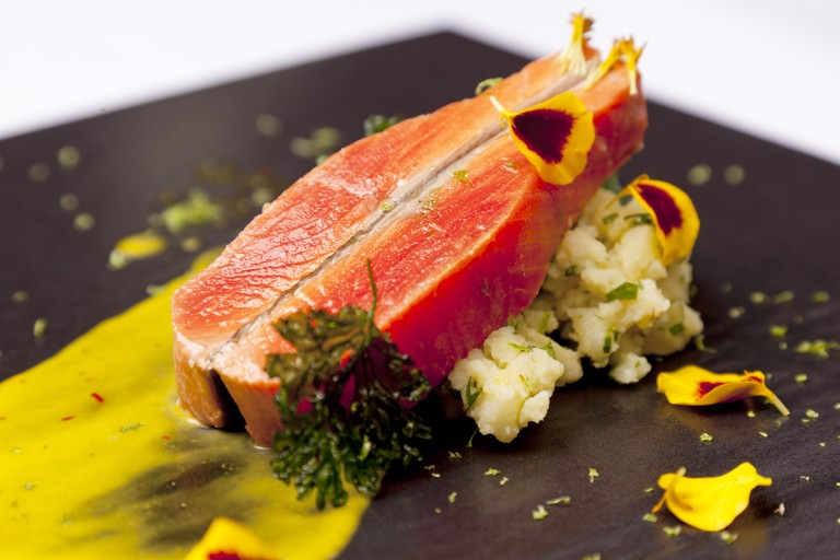 Pan-roasted Alaska salmon steaks with lime and coriander mayonnaise and warm crushed potatoes