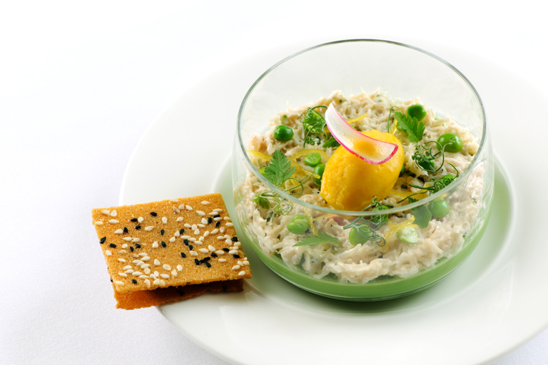 Sweet pea panna cotta with crab and cicely, mango and dashi sorbet, brown crab toast