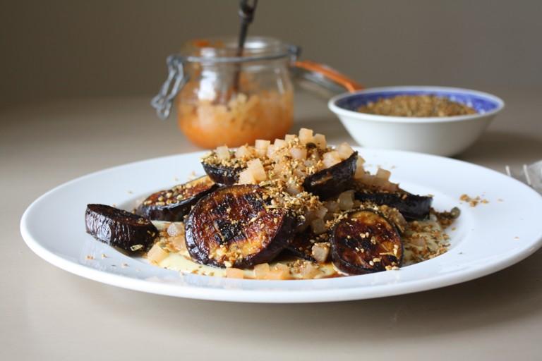 Miso charred aubergine, tahini mayonnaise, spicy fermented kohlrabi & dukka