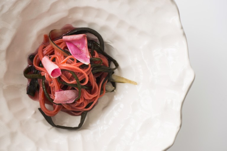 Cherry tagliolini, seaweed spaghetti and watermelon skin