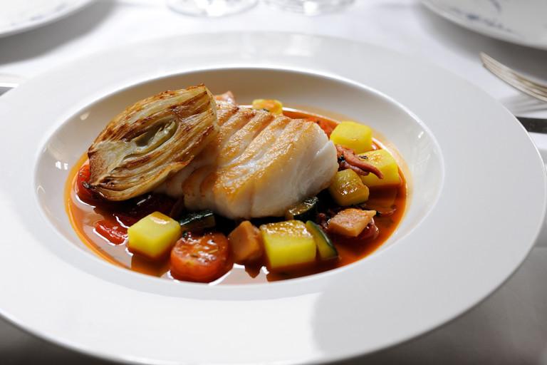 Cod with bouillabaisse sauce