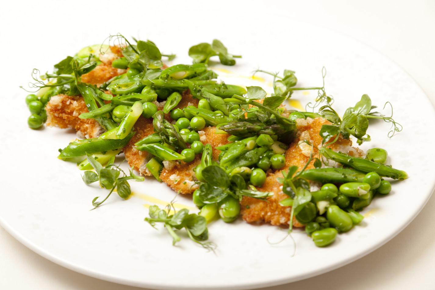 Panko-crumbed turkey salad of spring greens, honey and lavender dressing