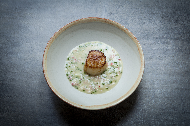 Scallop with smoked onion and razor clam