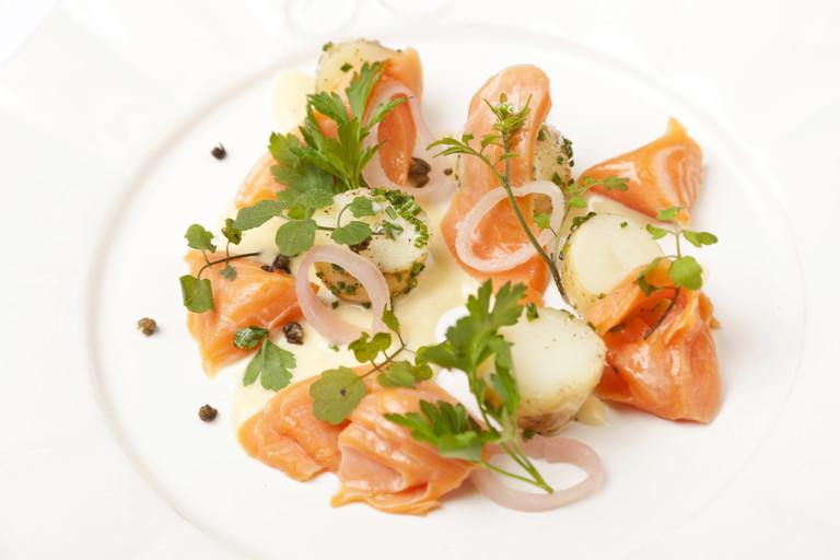 Alaska salmon, new potato and salad cream