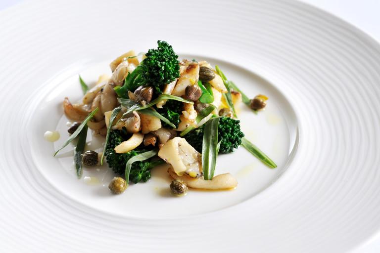Warm salad of braised cuttlefish with ink vinaigrette