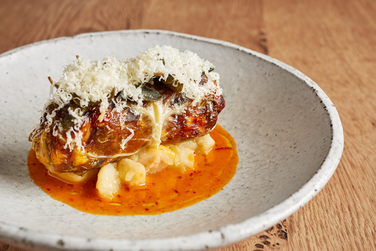 Stuffed cabbage with kimchi, swede, Caerphilly cheese and apple
