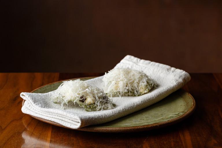 Seaweed cracker, fermented mushroom caramel, parmesan custard