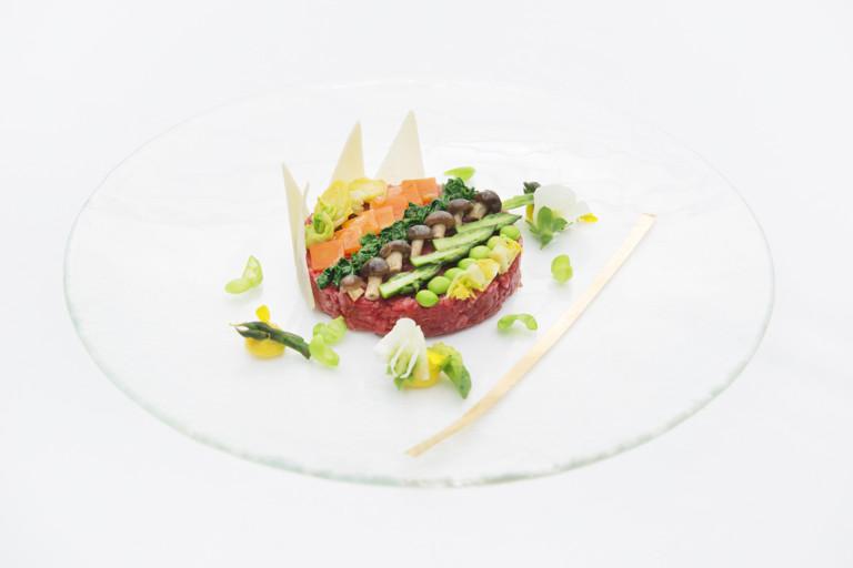 Beef tartare with garden vegetables