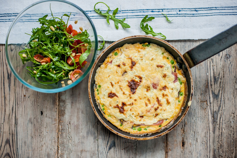Bacon and pea omelette with cheese glaze