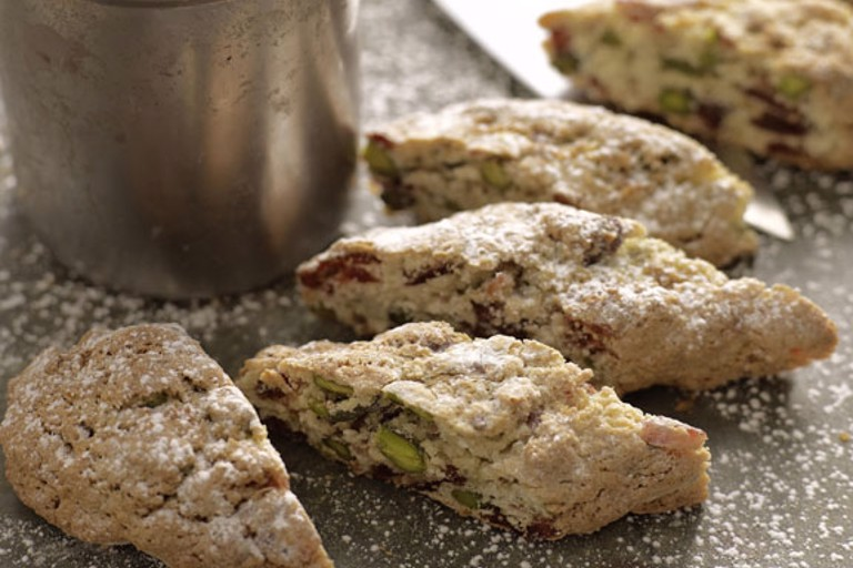 Biscotti with cranberries and pistachios