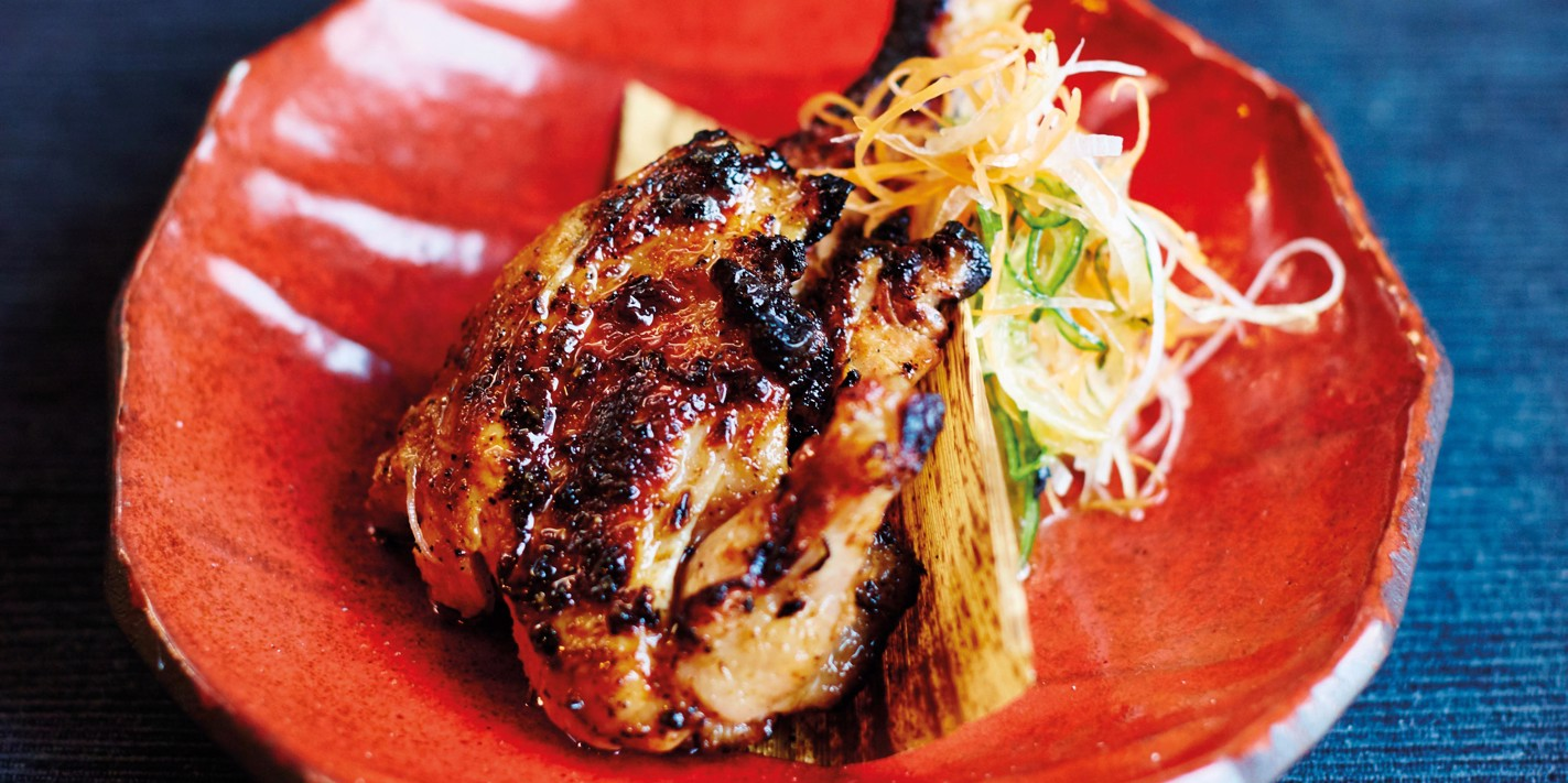 Grilled poussin with lemon-garlic-chilli dipper