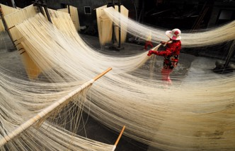 Long string noodles in Taiwan
