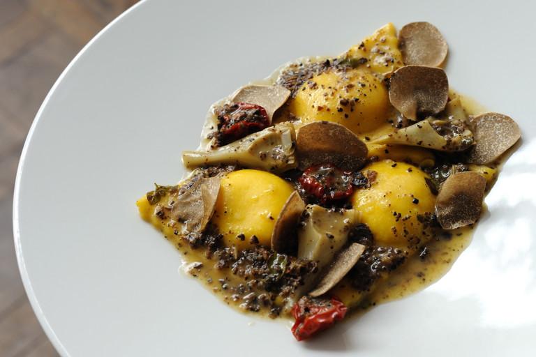 Ravioli, polenta, artichoke and truffle