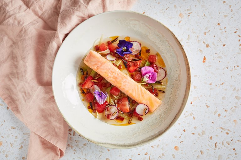 Confit salmon with chorizo, strawberries, watermelon and fennel