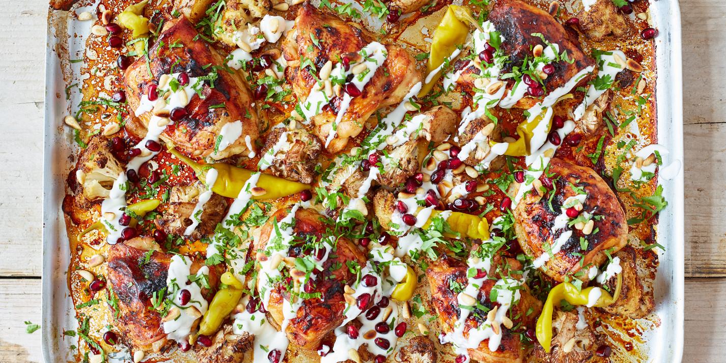 Harissa chicken with pomegranate molasses cauliflower