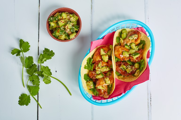 Cantonese crispy fried chicken tacos with smashed cucumber
