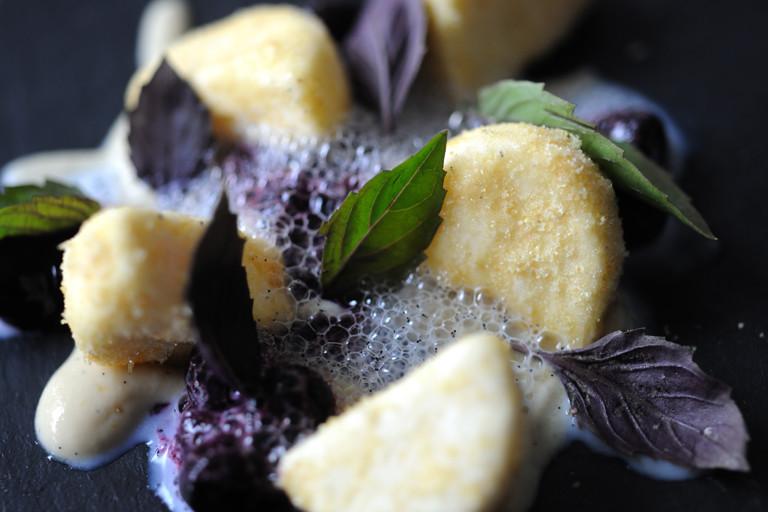 Goat's curd parfait, blueberries and purple basil