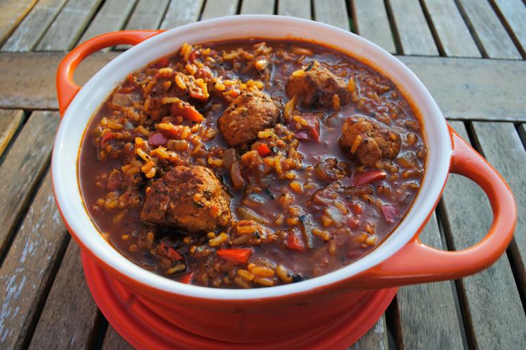 Turkey meatball tomato risotto soup