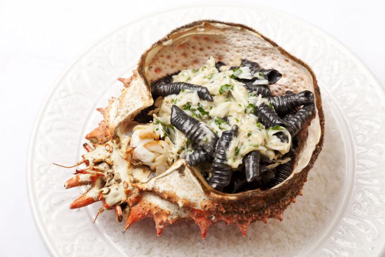 Alaska king crab with squid ink garganelle