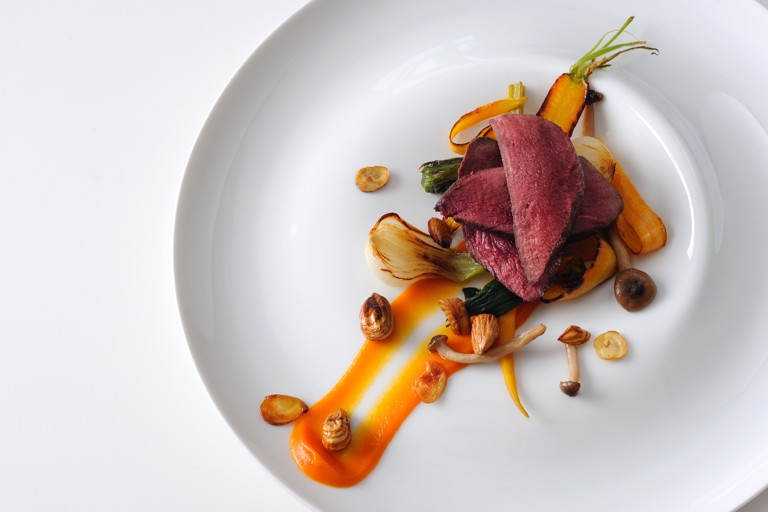 Wood pigeon with cobnuts