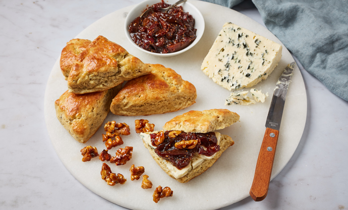 Saint Agur scone with fig relish and honey walnuts