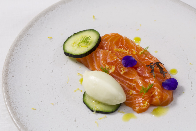 Cucumber and yoghurt sorbet with salmon, charred cucumber and dill oil