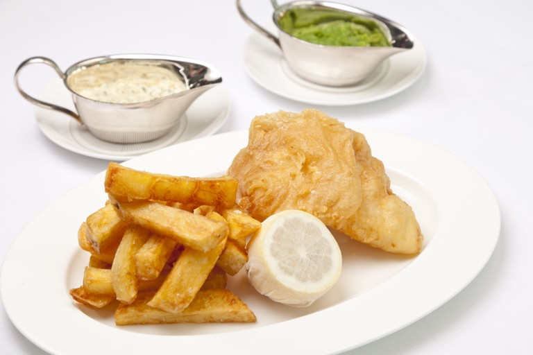 Meantime wheat beer battered fish and chips