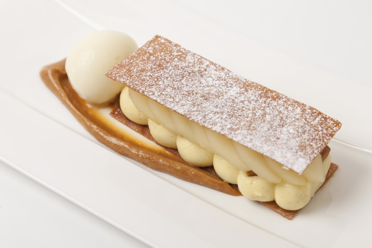 Pear and caramelised white chocolate galette