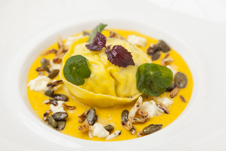 Colwick cheese tortellini with pumpkin velouté