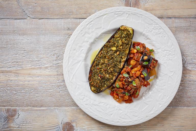 Pesto gratinated aubergine with caponata