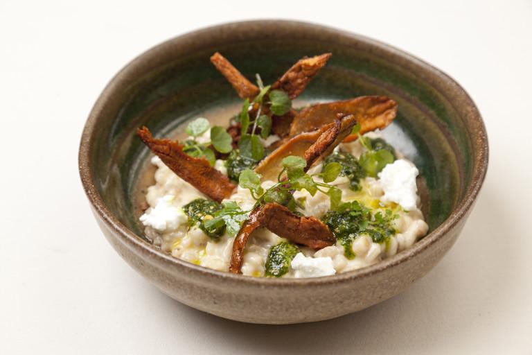 Jerusalem artichoke orzotto with parsley and peanut pesto